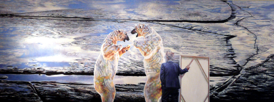 paul-roux-portrait-of-the-artist-apologizing-with-signage-to-two-adolescent-mercury-crazed-polar-bears-on-melting-ice-2009-oil-on-canvas-40-x-106-inches